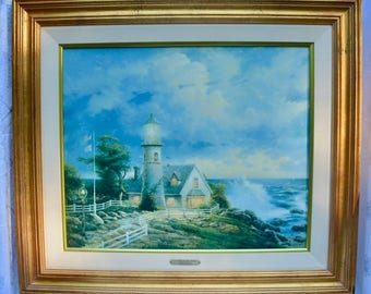 """Thomas Kinkade's """"A Light In The Storm"""" On Canvas, Signed and Numbered 380/395 With COA"""