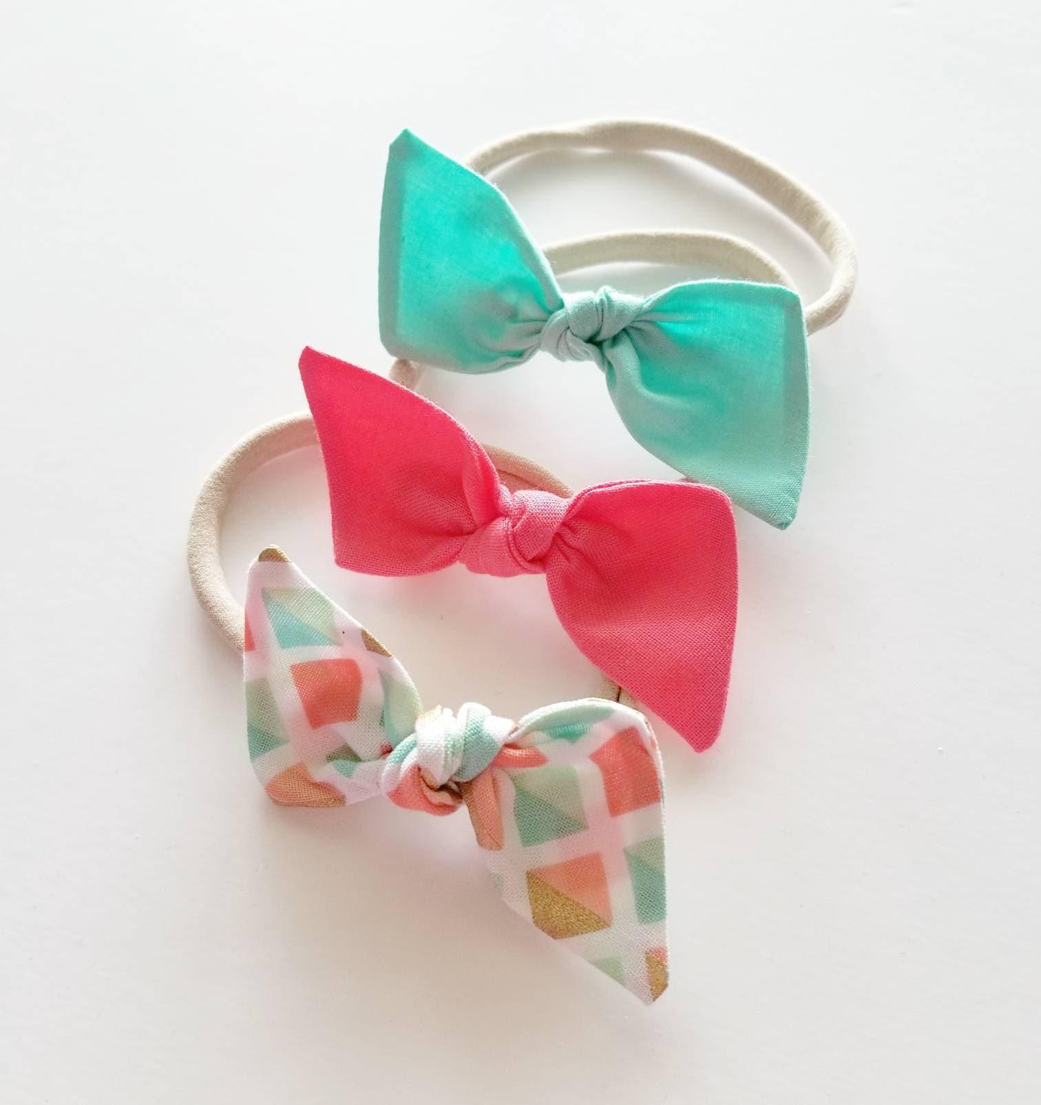 Nylon Headband Set Sherbet Baby Bows Fabric Bows