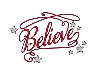 Believe Iron On Vinyl Transfer, DIY Christmas Gift, Iron On Decal, For Shirts, Pillows, Tote Bags, Aprons, Flags, Vinyl Designs, DIY Kit