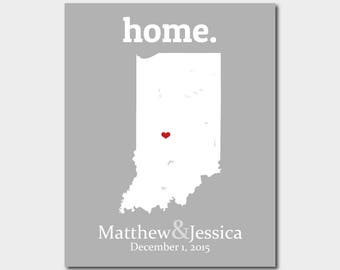Valentines Gift For Boy Friend, Indiana Map Art, Unique Graduation Gift, 36th Anniversary Gift, Evansville Indiana Map -Any State Or Country