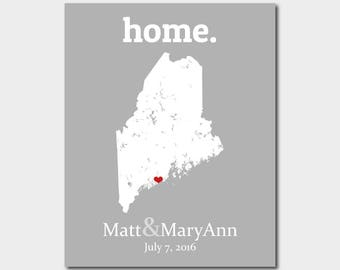 College Graduation Gift For Her, Unique Maine Gifts, Anniversary Gift For Wife, 32nd Birthday Gift, Custom Map - Any State Or Country