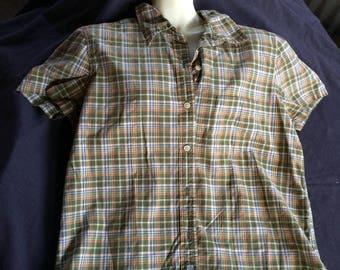 Short Sleeve Top,Cotton Plaid Blouse,Cotton Plaid Top,Plaid Top,Plaid Blouse,Green Plaid Top,Cotton Top,Casual Top,Short Sleeve Blouse