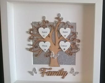Family Tree Frame, Silver Wedding Anniversary Gift, New Home Gift,
