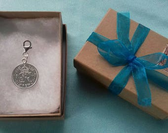 Bridal lucky silver sixpence charm ( 1947 - 1951 KGVI)
