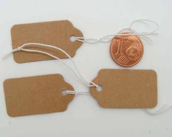 50 Étiquettes marron 33x18mm attache élastique pour bijoux ou petits objets pour prix ou référence