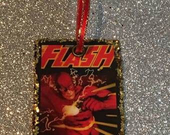 Upcycled Flash Holiday Ornament, comic crafts, decoupage