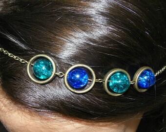 Headband in bronze with glass beads