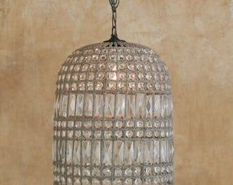 """Large French Beaded Birdcage Chandelier 18"""" Antique Reproduction"""
