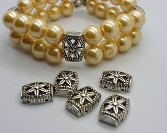 10 spacer for bracelet 11 mm x 15 mm in silvered brass with a flower