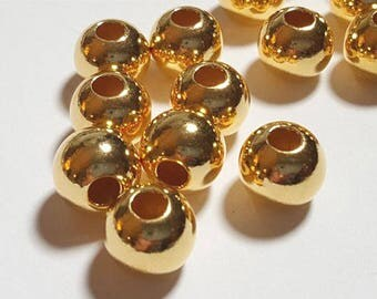 Pack of 50, Vermeil yellow Gold Plated sterling silver seamless 3mm round bead / spacer [our ref: 4587]
