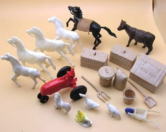 Vintage Collection of Plastic Toy Farm Animals, Tractor, Tools & Accessories- 20 pieces