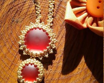 Orange Burst Necklace, beadcavemk3, beaded necklace, hand stitched necklace