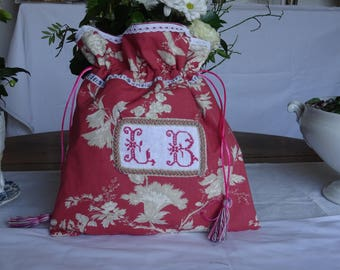 Shabby with old monogrammed pouch.