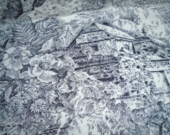 Vintage Toile Fabric, sold by the Half Yard, Chalets in Black and White