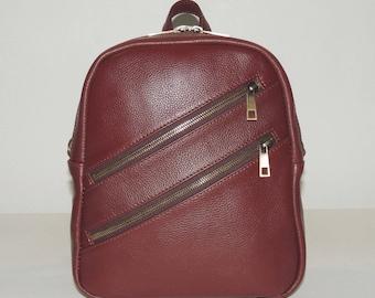 "Burgundy leather backpack ""Ivanna"""