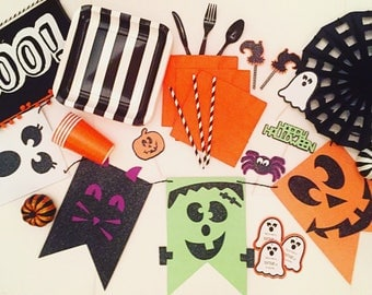 Halloween Fun! Banner; Halloween Party; Halloween Decor; Ghost; Spider; Witch; Frankenstein; Pumpkin; Halloween; Orange and Black Decor