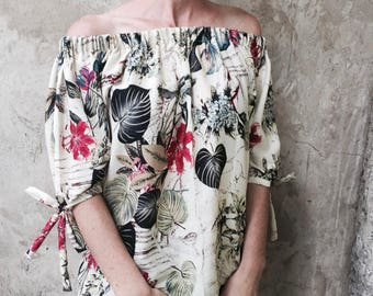Cream floral soft cotton/rayon elasticated women's summer blouse/top