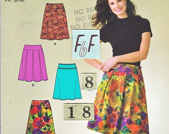 Women's Easy Flared, Low Rise Skirt Sewing Pattern/ Simplicity 4019 pleated, yoked, knee length skirt UnCut/ Size 8 10 12 14 16 18