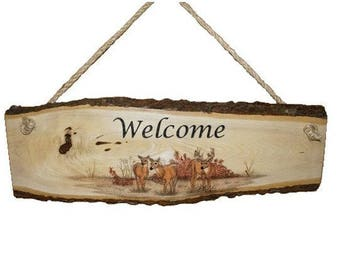 Rustic Wood Sign, Engraved Welcome Sign, Personalized Welcome Sign, Rustic Sign, Welcome Sign, House Warming Sign, Deer Sign, Cabin Sign