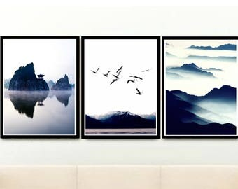 Set Of 3 Prints, Landscape Print, Nature Print, Triptych, Printable Art, Instant Download, Home Decor, wall Decor