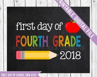 Fourth Grade Sign, Back to school printable, School Printable Sign, First day of 4th grade, Fourth Grade chalkboard sign, Fourth Grade,