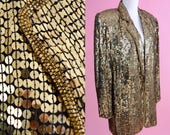 80s 90s Gold Sequin Blazer // Rina Z, Silk Jacket, 1980s 1990s Prom, Unisex Coat