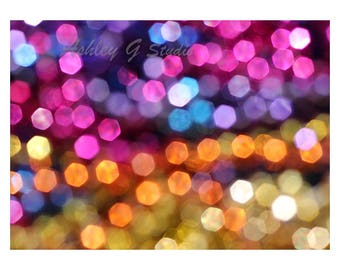 Abstract photography, Bokeh print inspired by Florida Sunsets, small dots