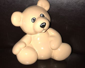 Seal piggy bank ceramic piggybank personalized baby gift baby teddy bear piggybank personalized baby gift piggybank teddy bear ceramic bear bank custom hand painted negle Image collections