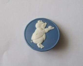 Vintage Jasperware Button Pig Butler Blue Jasper Ware Signed SR '83 Stella Ryzanski