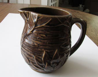 Vintage Lily Pad Pottery Pitcher Crockery McCoy Brown