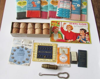 Vintage Lot Sewing Notions Rick Rack Needle Book Button Hook Thimble