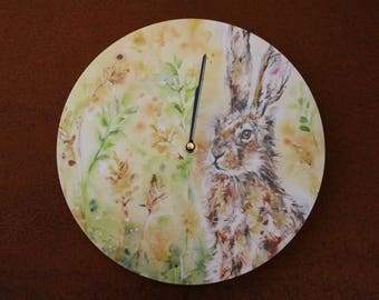 Hare in a meadow clock - print from an original watercolour painting