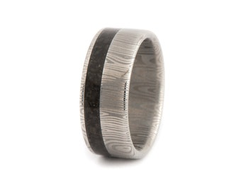Damasteel Damascus Ring With Dinosaur Bone Inside. Wedding And Engagement  Ring. For Men And