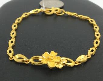 24K Solid Gold Flower Bracelet