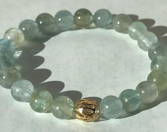Moss Aquamarine and Gold Filigree Bracelet