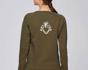 SWEAT pour Femme Beau Kaki anglais, impression blanc oiseaux en coeur dans le dos, Coton BIO
