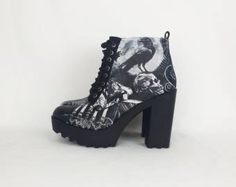 Gothic boots, goth shoes, platform shoe, Halloween, women boots, alternative, clothing, skull shoes, rock your sole, customized, creepy cute