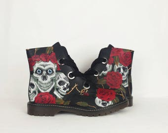 halloween, gothic boots, goth shoes, skulls, women boots, alternative, goth clothing, skull clothing, skull and roses, rock your sole, punk