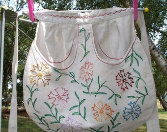 Vintage French Hand Made Apron. Embroidered Flax Linen.   1950's