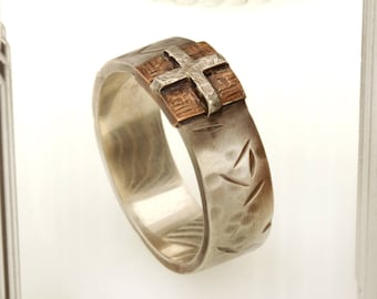 """Men's Wedding Band , Men's Ring, Copper Men's Ring, Casual ring, 8m""""m wedding ring, Hammered Silver Copper Ring, Man's unique Ring, RS-1239"""
