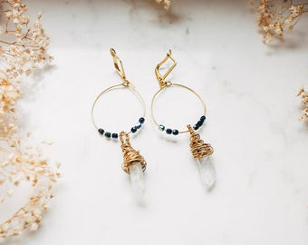 Dark Quartz Hoop Earrings