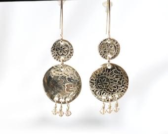 Hand made .999 Fine Silver artisan earrings