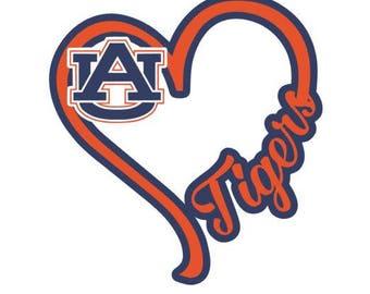 I Heart Auburn Tigers, window decal, Alabama, AU, War Eagle, college sports