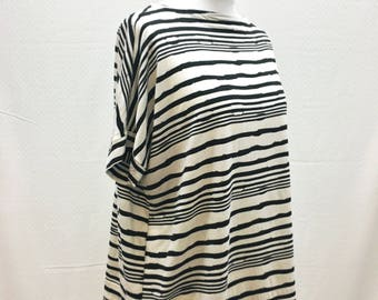 Handmade, Individual, Unique, Batwing, Oversized, Top, Tunic, Short Sleeves, One Size, Knitted, Stripes