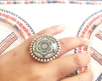 Bohemian mandala cabochon ring
