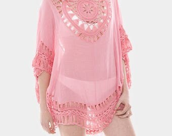 Crochet Cover Up/Poncho Top - Pink