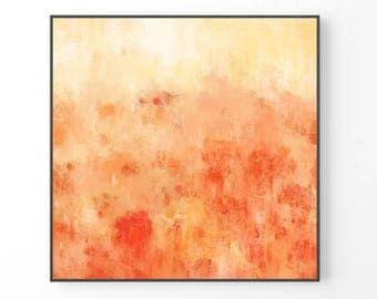 Large Abstract Painting, modern large wall art, orange wall art, print from original painting, pastel print, orange and red art