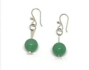 Green Aventurine  and Sterling Silver Small Dangle Earrings