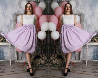 Mauve,white,lilac,lavender,two tone,chiffon,lace,prom,two tone,tea length dress, bridesmaid,midi,summer,bridal, wedding dress, dirndl dress