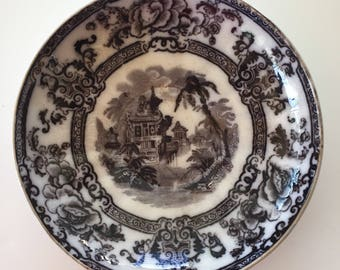 Antique 1800's Davenport Cyprus Black Ironstone, Mulberry, Deep Saucer, Shallow Bowl, Black and White Transferware